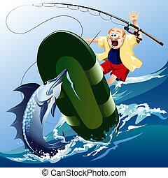Funny illustration with scared unlucky fisherman jumping out of boat under attack of the huge swordfish
