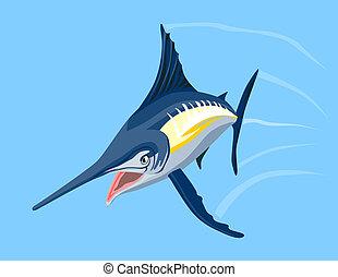 Swordfish attacking - Artwork on fishes