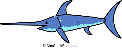 swordfish isolated on white drawn in toddler art style