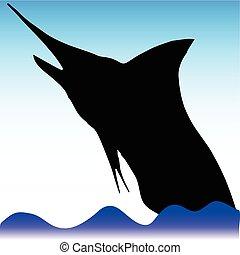 swordfish jump vector silhouettes