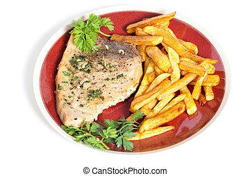 Swordfish steak and chips