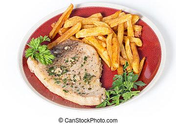 Swordfish steak and fries