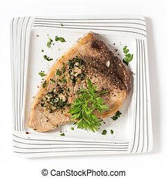 Swordfish steak from above