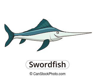 Swordfish underwater animal cartoon illustration