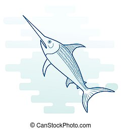 Swordfish, vector cartoon outlined illustration.