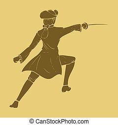 Swordman - 17th century swordsman in carved style ...