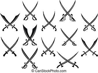 Medieval swords and sabres set for heraldry design