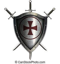 swords., bouclier, moyen-âge, croix rouge