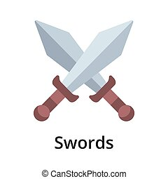 Swords flat vector illustration. Single object. Icon for ...