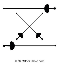 Swords for fencing icon black color illustration flat style...