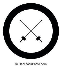 Swords for fencing icon black color vector illustration...