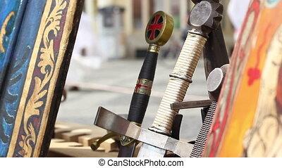Swords Handles - Close up shot with beautiful swords...