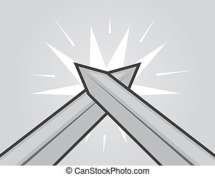 Swords Hitting  - Two swords hitting with gray background