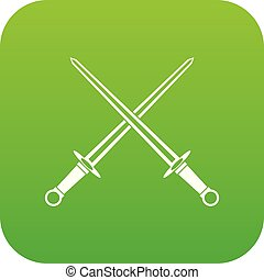 Swords icon digital green for any design isolated on white...