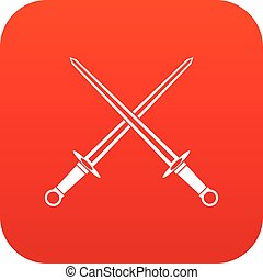 Swords icon digital red for any design isolated on white...