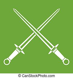 Swords icon green - Swords icon white isolated on green...