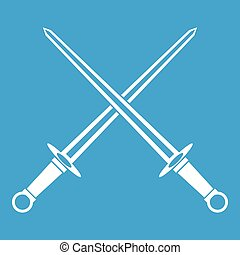 Swords icon white isolated on blue background vector...