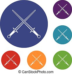 Swords icons set in flat circle reb, blue and green color...