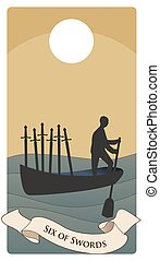 Swords-Minor Arcana-05 - Six of swords. Silhouette of person...