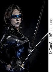 Swords, Woman with katana sword in latex costume - Woman ...