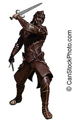 Swordsman in Leather Armour with Two Swords