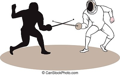 Swordsmen Fencing Isolated Cartoon - Illustration of...