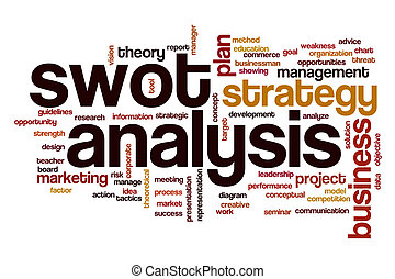 swot, análisis, palabra, nube, concepto