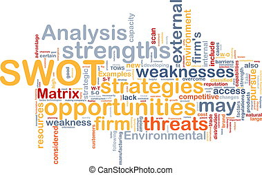 Background concept wordcloud illustration of business SWOT analysis
