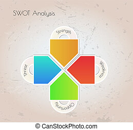 swot analysis elements on grunge background, vector