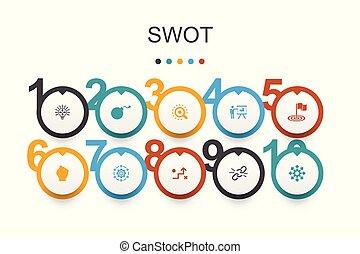 swot, infographic, desenho, força, ameaça, ícones, fraqueza, oportunidade, template.