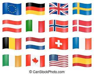 swung country flags - collection of different EU and US...