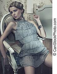 Sxy woman posing in vintage room