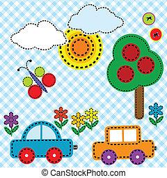 sy, baggrund, fabric, by, børn