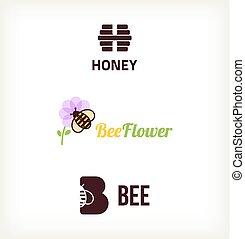 Sybol bee vector - Sybol honey, flower, bee vector. Template...