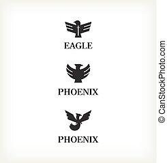 Sybol birds vector - Sybol black birds set vector. Template ...