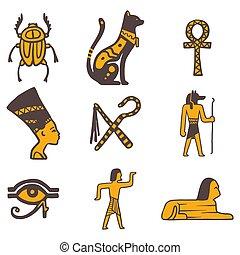 sybols, jeroglífico, egipto, viaje, ilustración, mano,...
