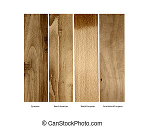 Sycamore, Beech and Pear wood samples