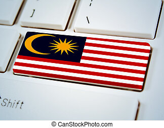 sydøst asian nationer sammenslutning, flag, på, klaviatur, button.malaysia