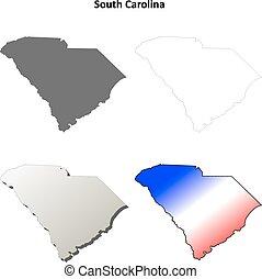 syd, skissera, carolina, sätta, karta