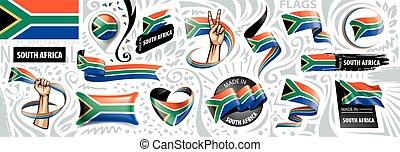 syd, vektor, bakgrund, flagga, vit, illustration, afrika