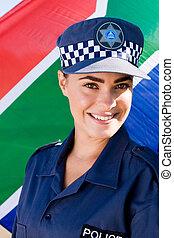 sydafrikansk, kvinnlig polis