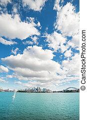 sydney, ángulo, ciudad, distrito, bridge., muy, nubes, disparando, de par en par, central, encima, empresa / negocio, puerto, contorno