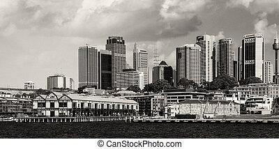 sydney, 13, -, vista, puerto, edificios, agosto, 13: