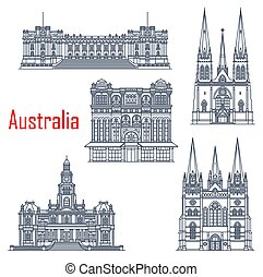 Australian famous building landmarks, architecture. Vector Parliament Melbourne, Saint Patricks and Pauls Cathedrals, Queen Victoria Palace, Sydney Town Hall. Australian travel landmarks