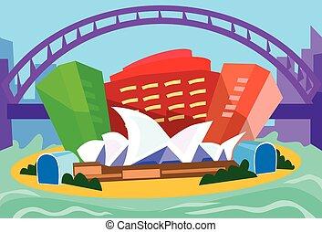 sydney, astratto, orizzonte, città, grattacielo, silhouette
