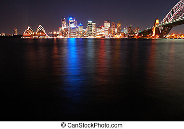 night sydney scene, reflection in water, more space left in the bottom for eventual text message or something
