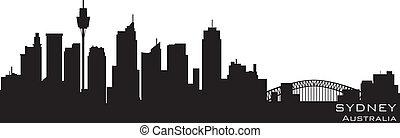 sydney, austrália, skyline., detalhado, vetorial, silueta