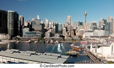 SYDNEY, AUSTRALIA - AUGUST 19, 2018: Aerial view of Darling Harbour and city skyline from Wentworth Park. Sydney attracts 15 million people annually.