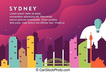 Sydney Australia City Building Cityscape Skyline Dynamic Background Illustration