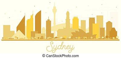 Sydney Australia City skyline golden silhouette.